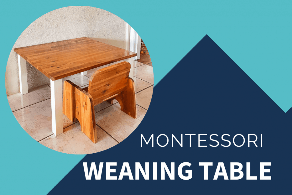 Montessori weaning table DIY with wooden top and white legs next to wooden child sized montessori chair.