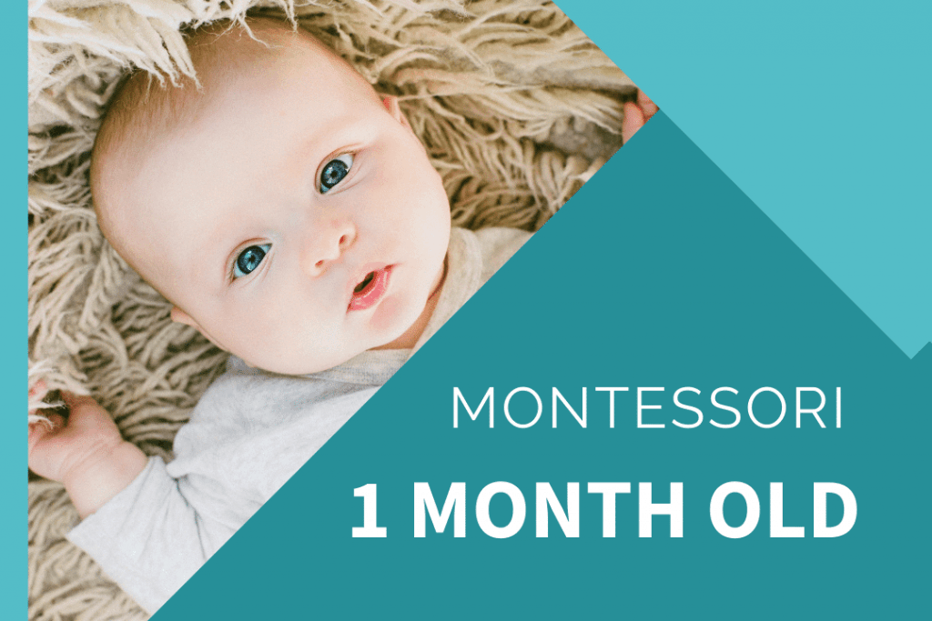 Montessori newborn looking up while laying on beige rug