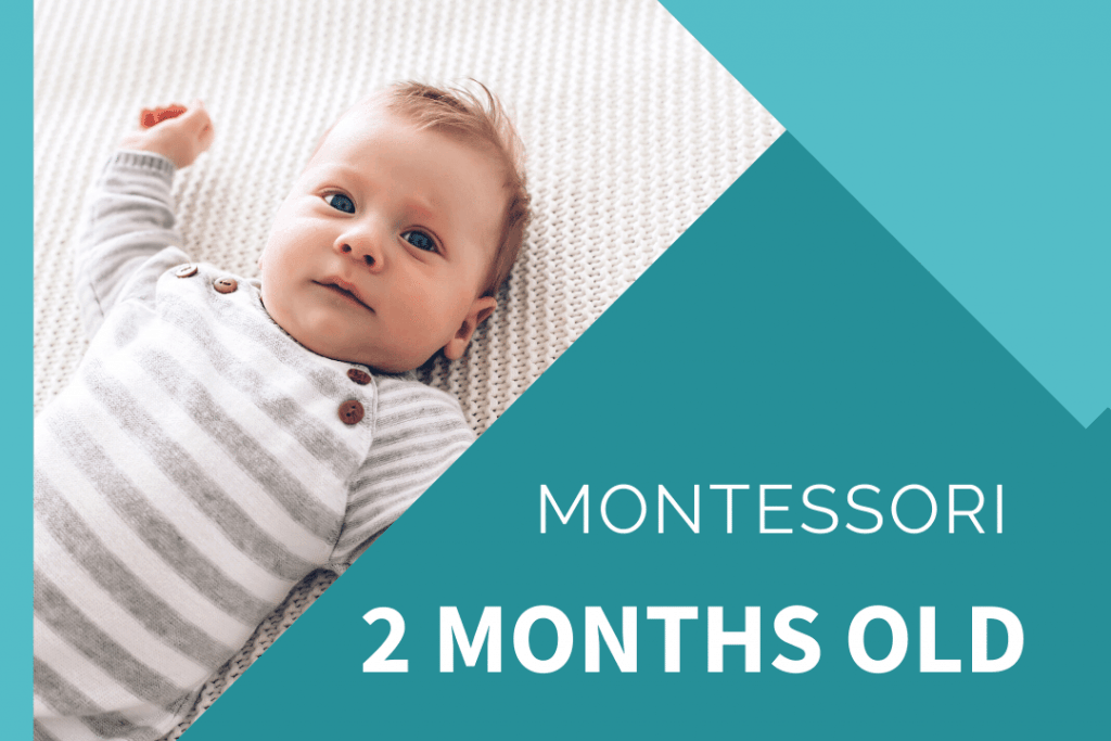 Montessori 2 month old with blue eyed baby on white rug in a white and grey stripped jumpsuit with brown buttons.