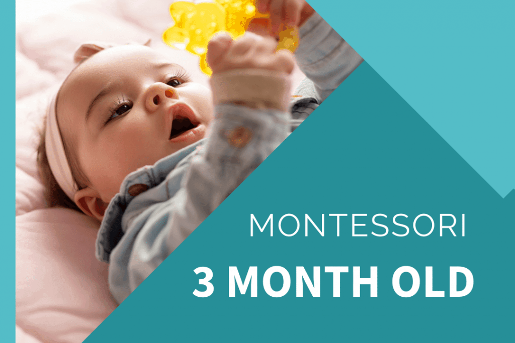 Montessori 3 month old baby holding a grasping ring wearing a pink headband