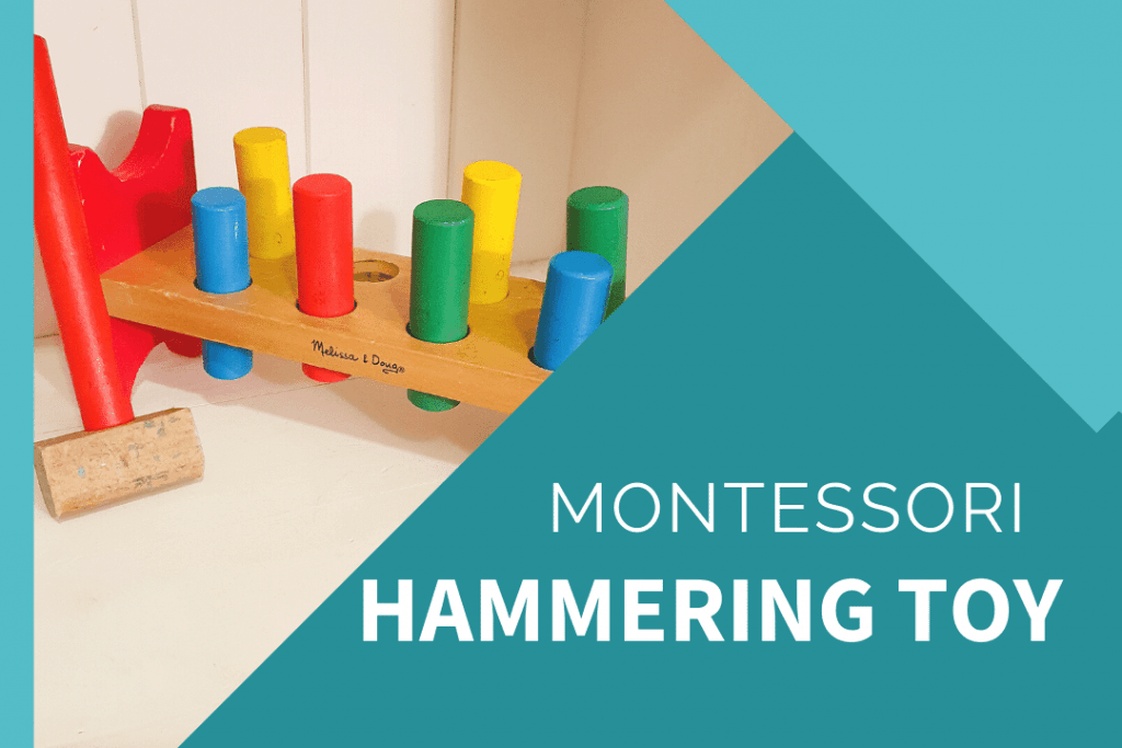 montessori hammer toy with yellow, blue, red, green wooden begs and wooden hammer to hit with.