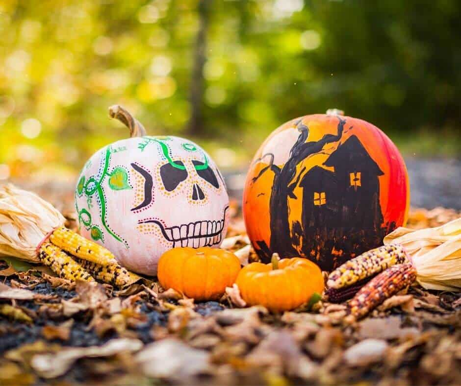 halloween alternative white painted pumkin with face and orange pumpkin with house sitting on fallen leaves outside