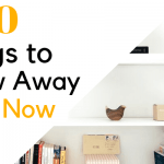 white shelves with lamp, wooden bird, and books on them minimally for decluttered look
