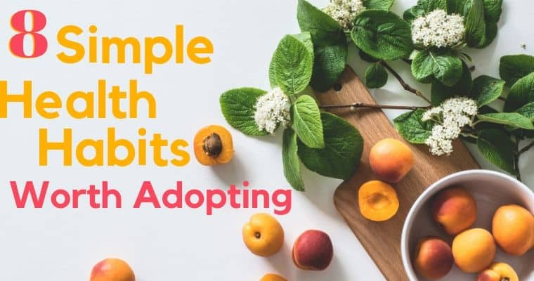 peachs and mint on a white background for simple health habits