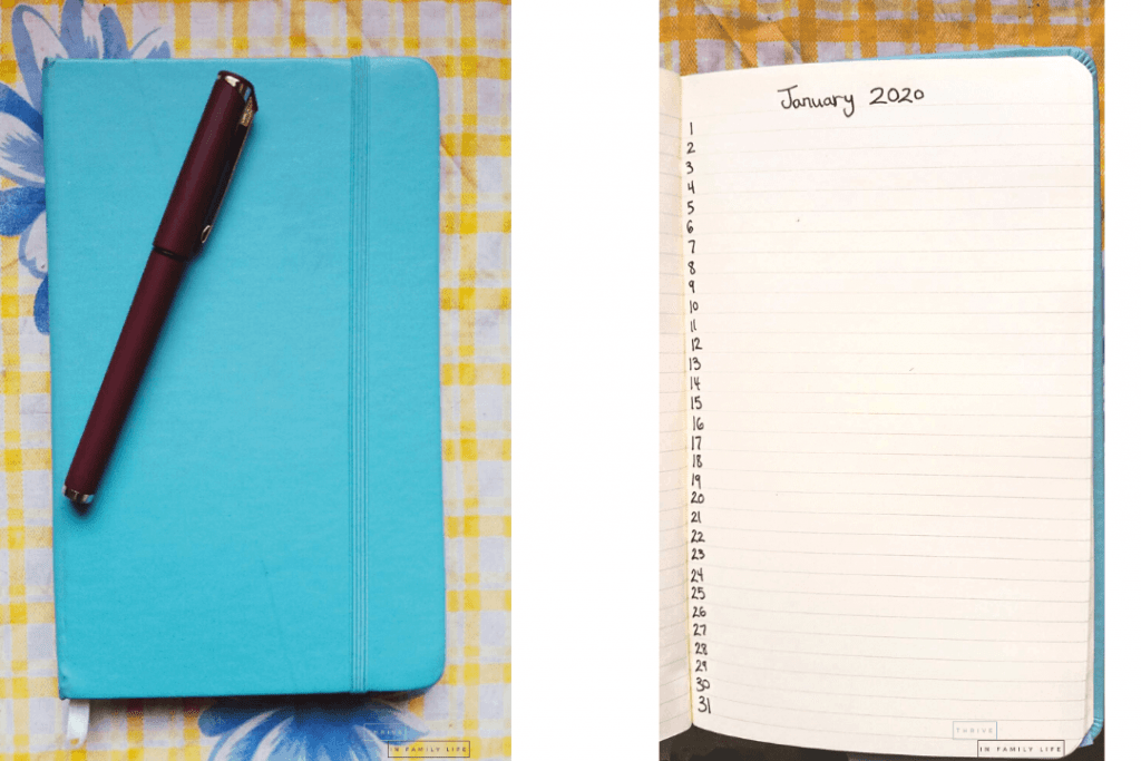 DIY Gratitude Journal for moms using normal notebook and pen.