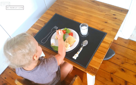 Montessori Weaning table with placemat and utensils