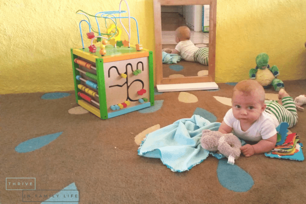 Montessori play area for 6 month old with toys