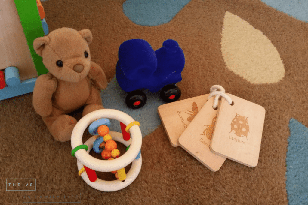 Montessori toys for 6 month old with bear, blue train, wooden teether, and wooden nature flashcards