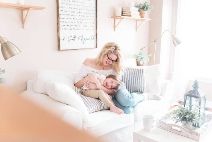 connect with your children after school with a women on couch with daughter