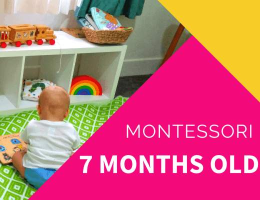 montessori 7 months old with baby and toy shelf