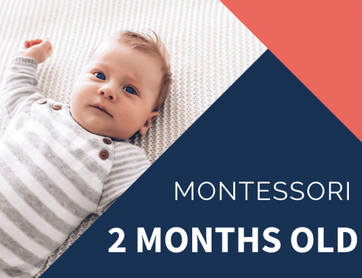 montessori 2 month old on blanket