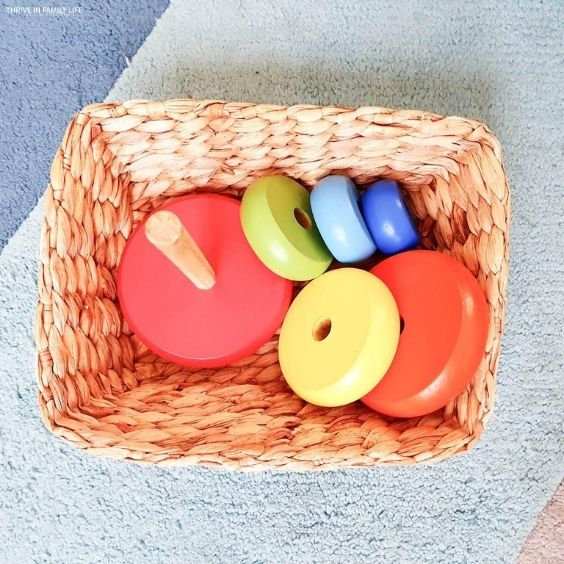 wooden rainbow stacking toy for baby