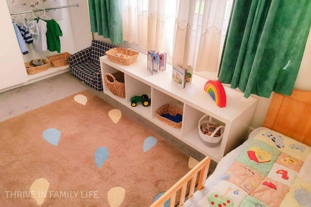 Montessori bedroom for 2 year old with Montessori wardrobe and Montessori toys for 28 month old.