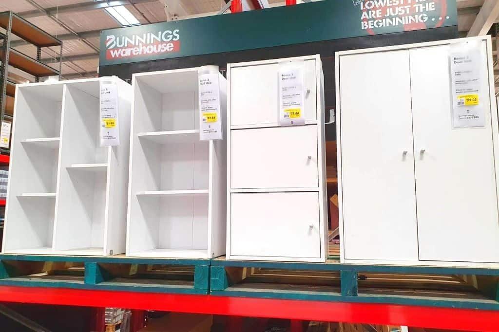 DIY Montessori Shelf in Australia from Bunnings flat pack. Four styles shown, all white shelves.