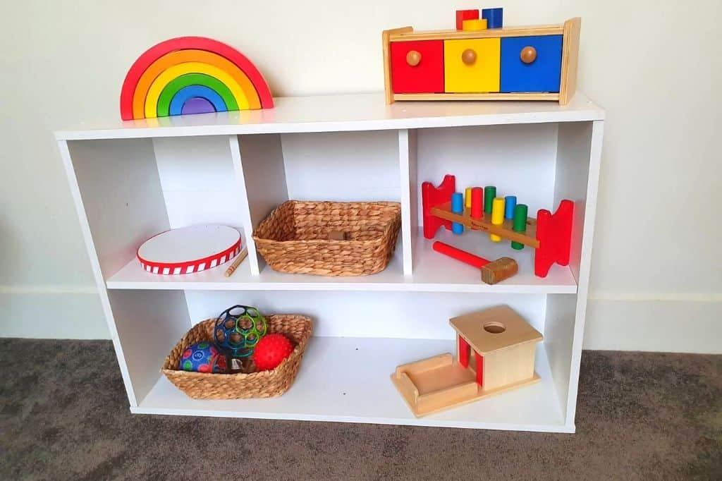 Example of Montessori Shelf set-up with Montessori work on a Bunnings shelf.