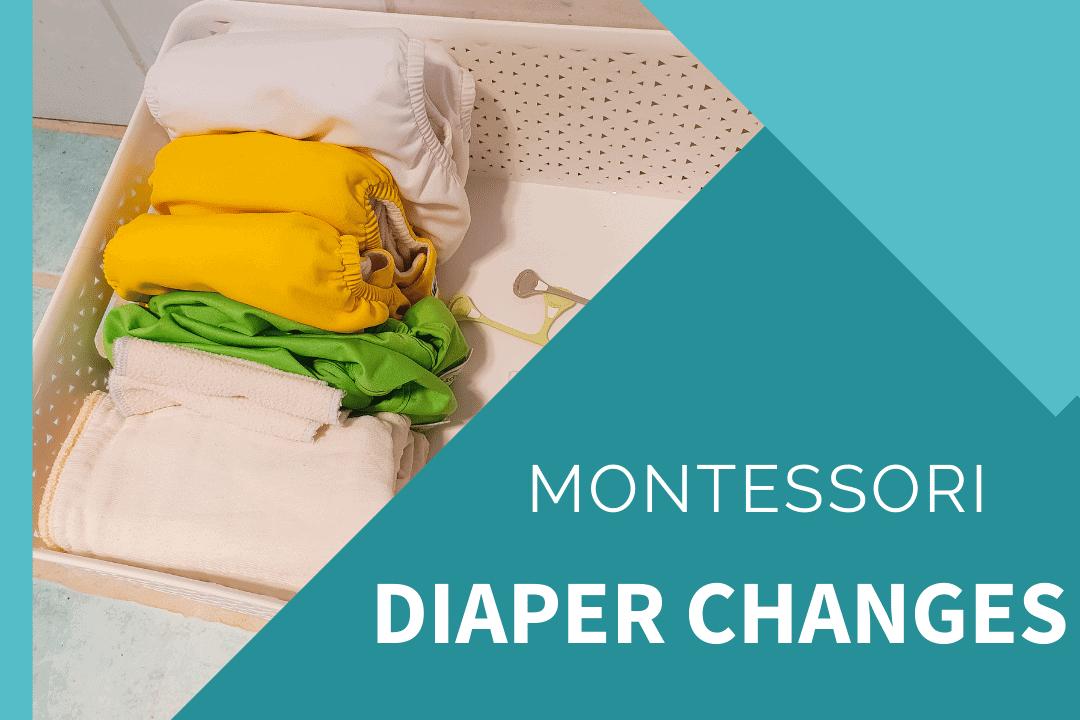 montessori nappy change area with cloth diapers