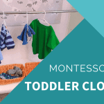 montessori toddler wardrobe with child height hanging bar with blue pjs on hanger and green shirt on hanger